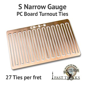 CopperHead S Scale Narrow Gauge PC Board Turnout Ties - 1/16""