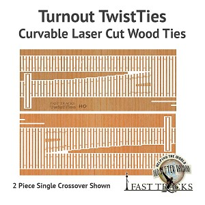 Curvable Laser Cut Wood Ties For HO Scale, #6 Crossovers - Left