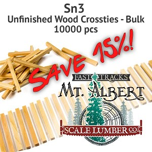 Sn3 Unfinished Wood Crossties - 10000 pcs