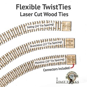 "S Scale Mainline, 10"" Flexible TwistTies Crosstie Strips"