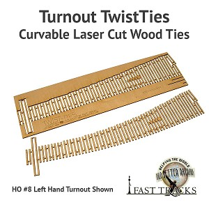 Curvable Laser Cut Wood Ties For HO Scale, #9 Turnouts - Right