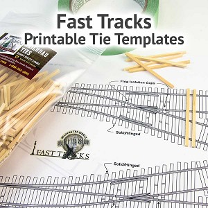 "HO Scale, #10, 18""/16""R Curved Turnout, Right Hand - Printable Track Template"